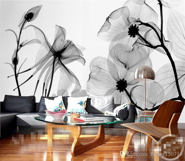 Black white flower 3d abstract photo mural wallcoverings for 3d white flower wallpaper
