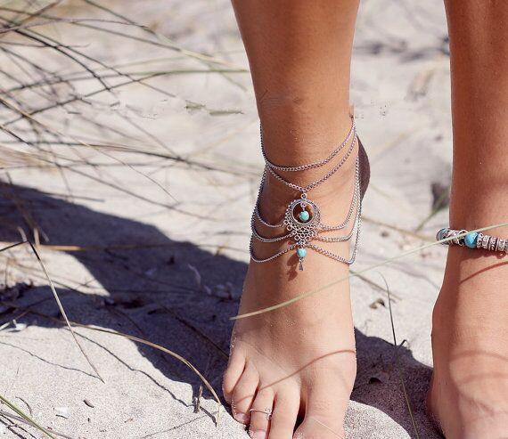 Mode Turquoise Anklet Glands Barefoot Ankles Sandals Femmes Filles Élégant Chaînes Anklets Bracelet Pied Sandal Plage Accessoires Free DHL