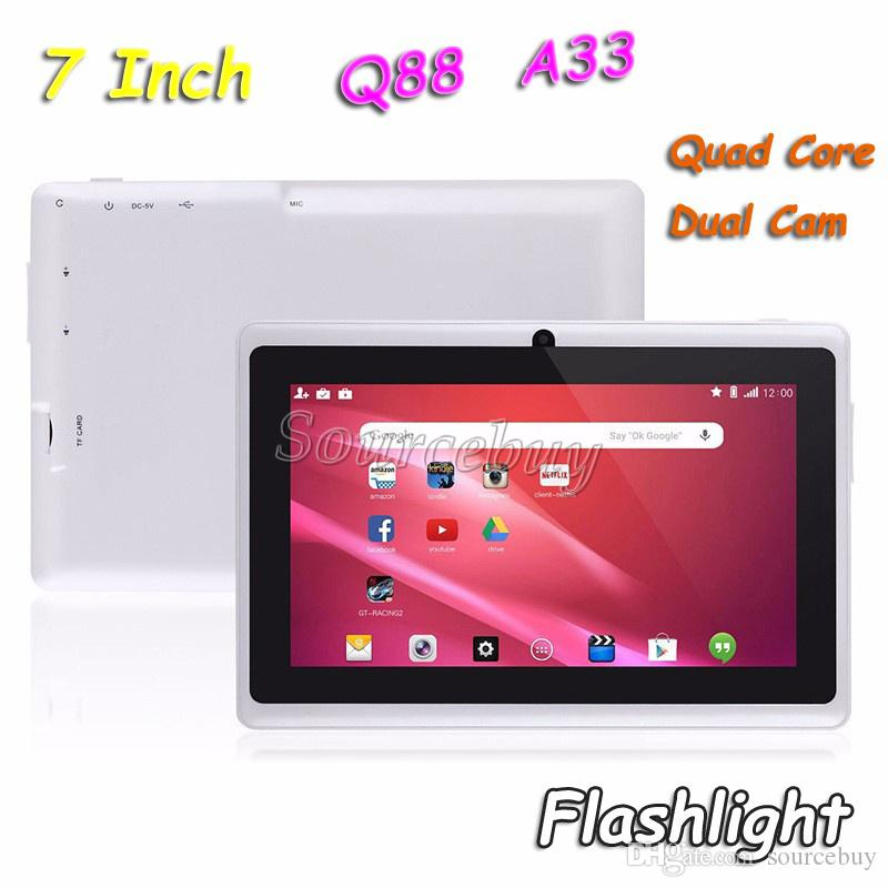 "DHL Free Shipping 7"" Q88 Quad Core Dual Cameras A33 Android 4.4 Tablet PC 512MB 4GB Flashlight Wifi Capacitive Screen Colorful 100pcs"