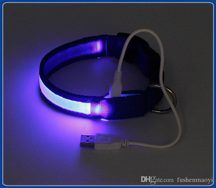 2016 New Dog supplies USB LED Dog Collars Webbing Rechargeable battery 3 sizes