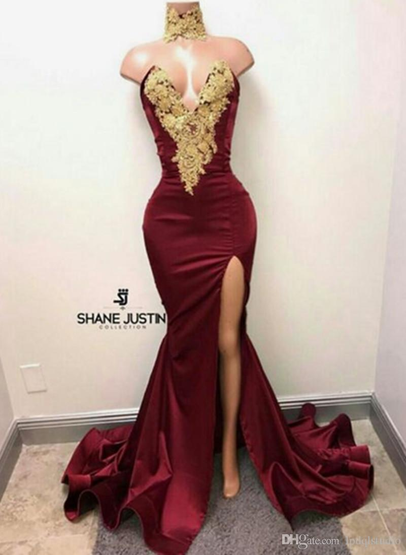 Sexy burgundy Evening Dress Side Split Sweep Train Gold Applique with rhinestones Prom Gowns Custom Made Elastic Satin/Velvet Evening Gowns