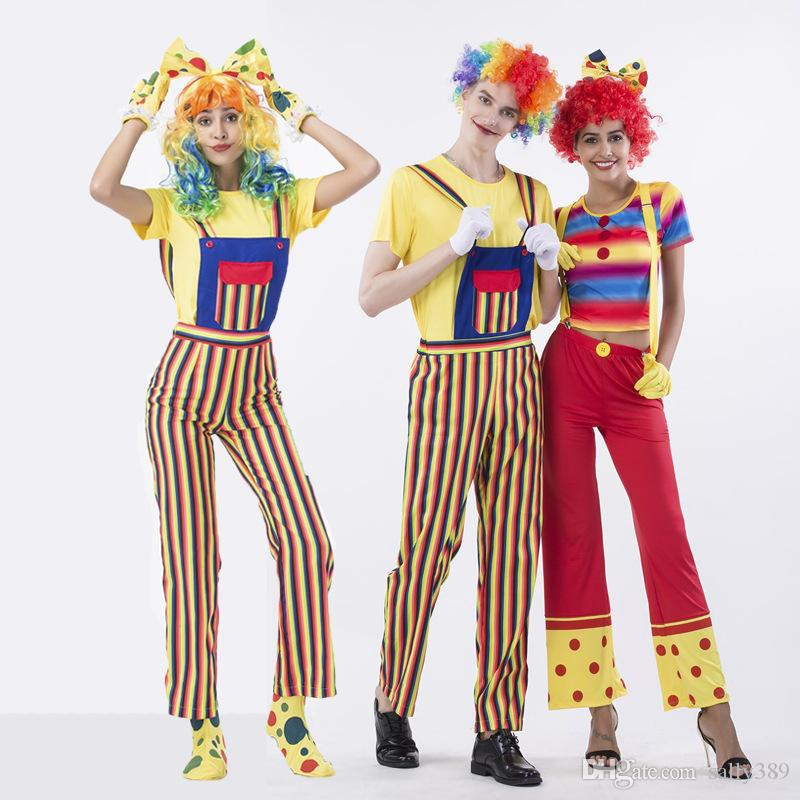 Halloween costume for the circus clown role-playing costume with a striped suit Fancy Dress Outfit Adult s-xxl