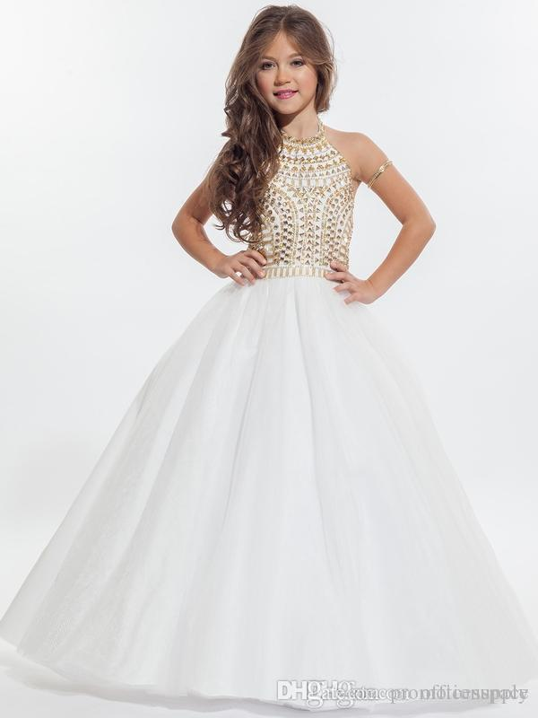 Rachel Allan 2019 Sparkly Girls Pageant Dresses for Teens Halter Tulle Floor Length Rhinestone Little Girls Prom Party Dresses