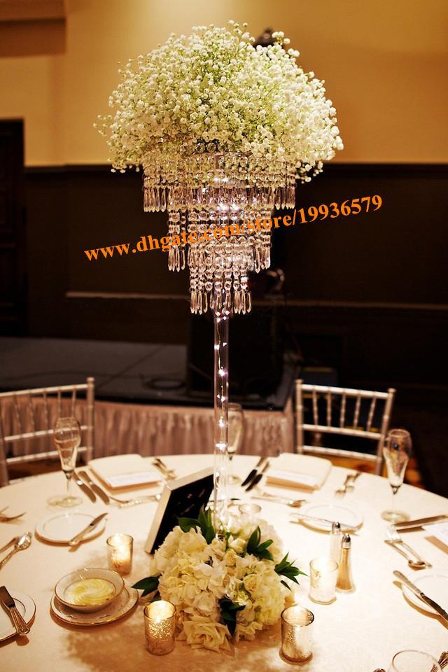 H70cm 크리스탈 펜던트 샹들리에 3 층 반짝이는 아크릴 비즈 반지 결혼식 중심 장식 이벤트 파티 장식