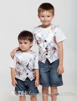 Snowfall White Camo Vest Kids Formal Wear Boy's Wedding Wear Custom Made With Tie Camouflage Boy Outwear 2018 Wedding Wear