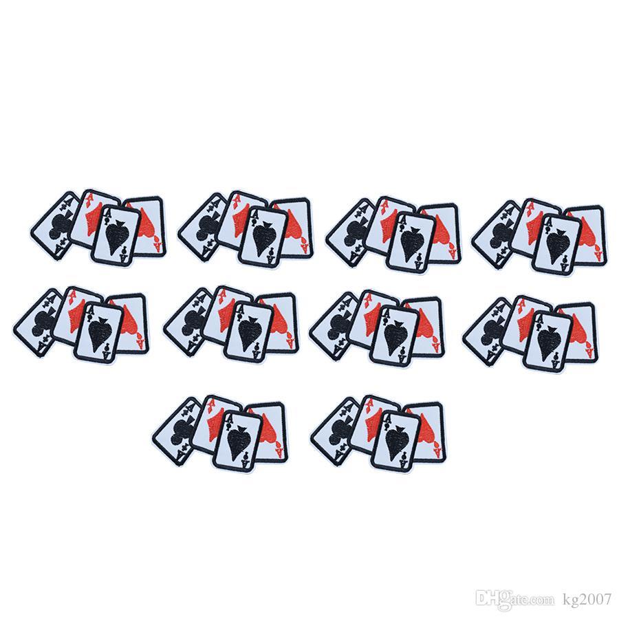10 UNIDS Tarjeta de Juego A Parches para Bolsas de Ropa Hierro en Transferencia Parche de Apliques para Niños Jeans DIY Coser en Insignia de Bordado