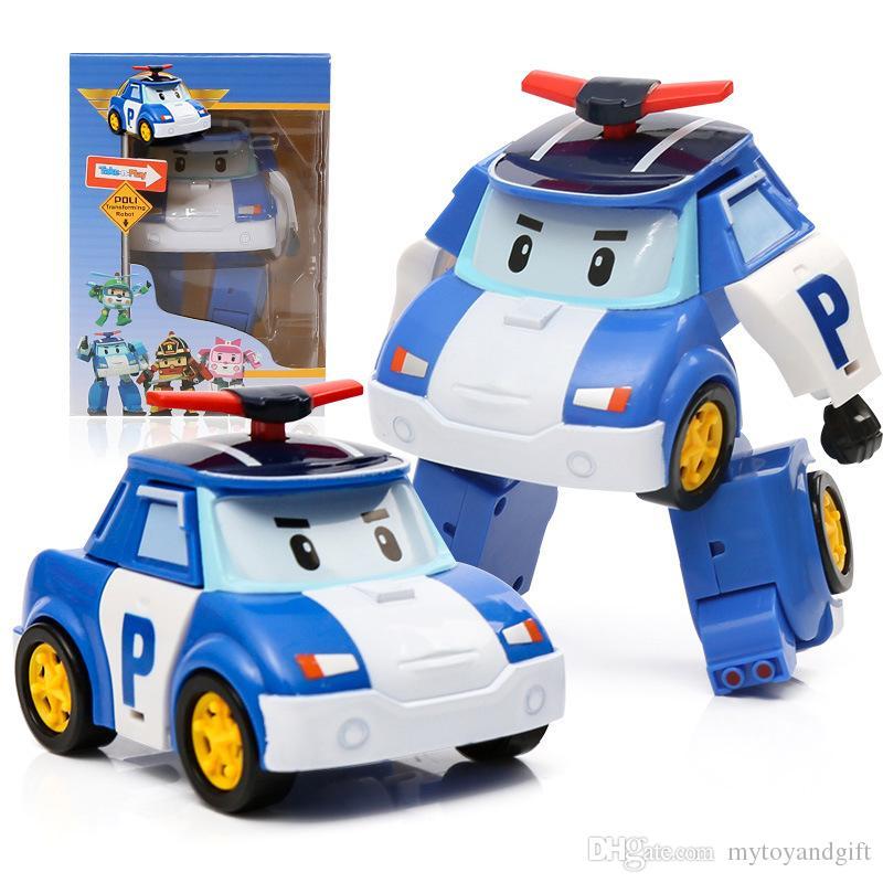 Komik ROBOCAR POLI Deformasyon Polis Robot çocuk Eğitici Oyuncaklar Karikatür dönüşümü Robot Araba araçlar çocuk araba modeli oyuncak