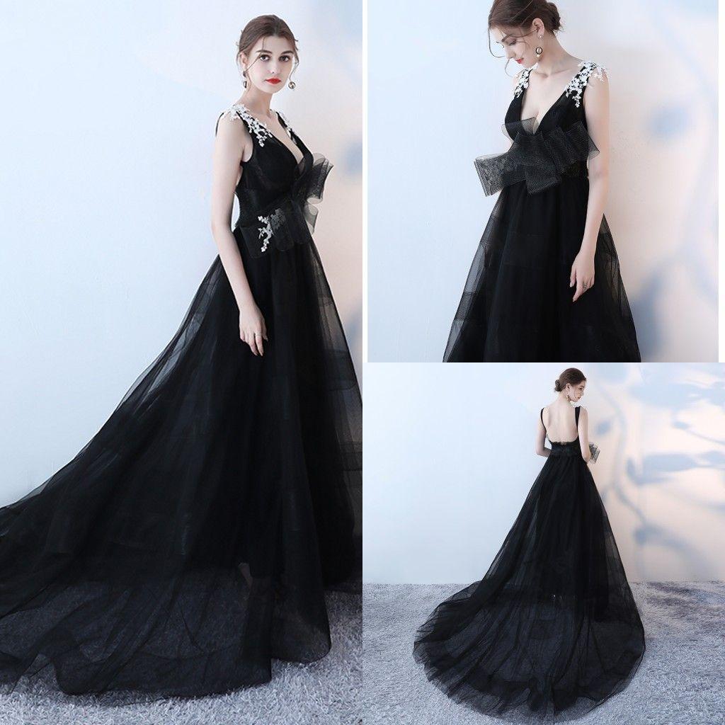 Deep V Neck A Line Black Formal Evening Dresses White Lace Ruched ...