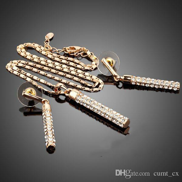 Venta al por mayor de Oro Color Claro Austria Cristales Pendientes de Gota y Colgante de Collar de Conjuntos de Joyas para Chica Mujer Envío Gratis