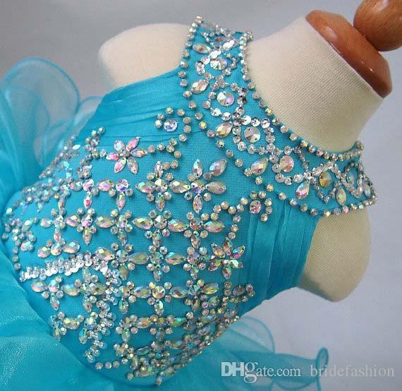 Jóia Azul Backless Beading Bordamento Organza Flor Meninas Cupcake Pageant Vestidos Crianças Crianças Glitz Prom Infant Ball Vestidos Frete Grátis