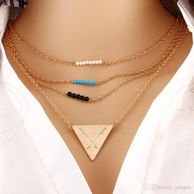 Fashion Jewelry Beauty Collarbone Chain Silver Plated Two and Three Chain Necklace Turquoise Beads Sequins Pendants Necklaces Best Gift