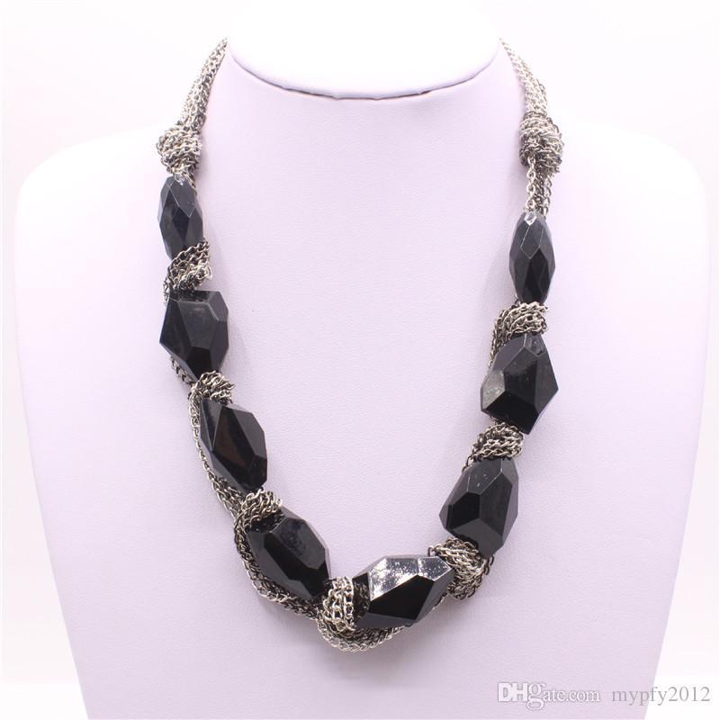 New Boho Collar Colares Robusto Declaração Cadeia Vintage Preto Gemstone Rhinestone Bib Gargantilha Colar Para As Mulheres PF2