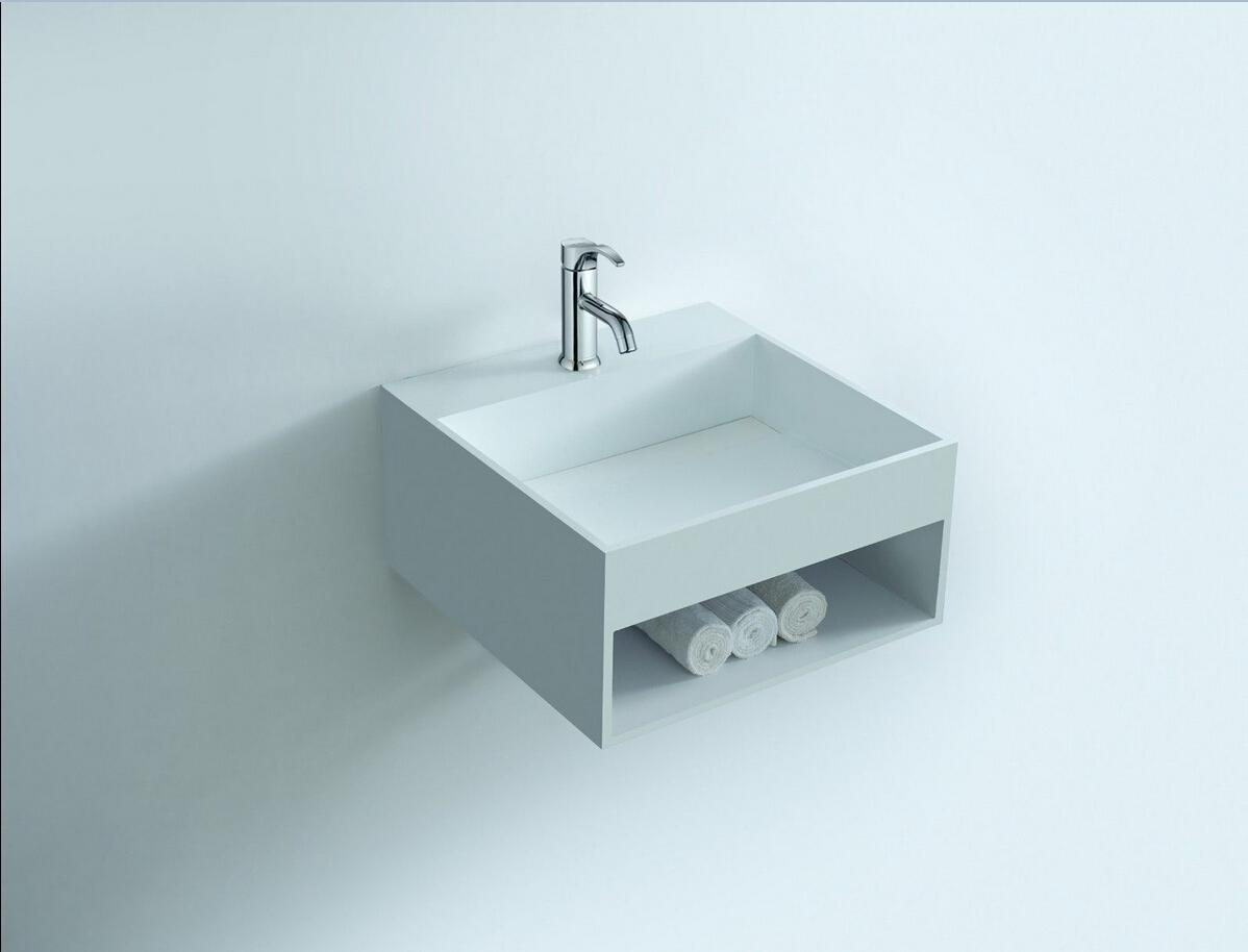 Rectangular bathroom solid surface stone Wall hung sink and fashionable Cloakroom Stone wall mounted wash basin RS3836
