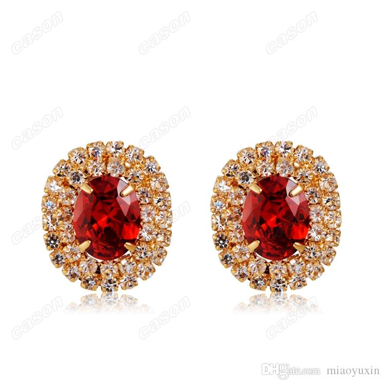 Cason High Quality Gold Plated Sparkling Crystal Heart Earrings And Pendant Necklace Women Jewelry Sets Red Colour SJ-0015