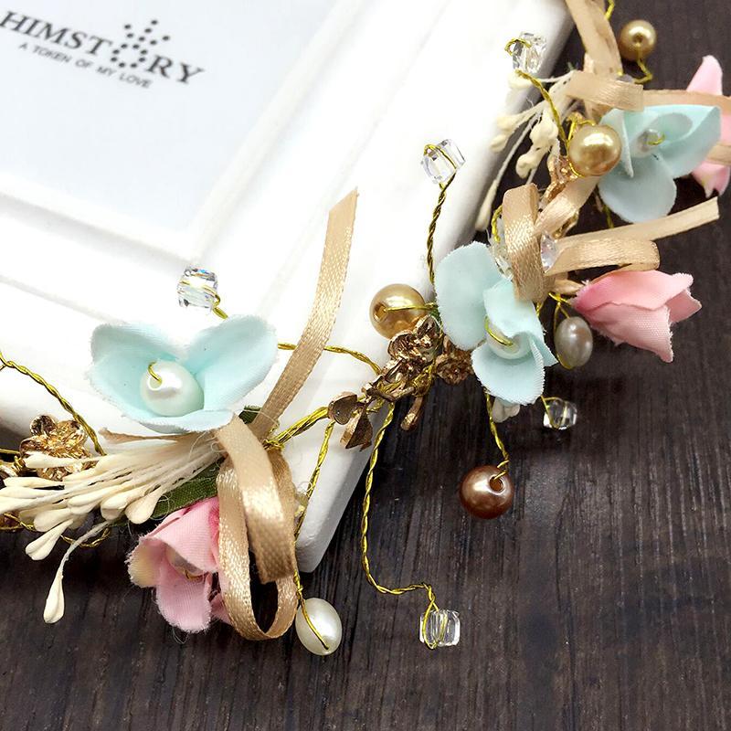 HIMSTORY Handmade Pearl Headband Floral Hairband Donna Carino gioielli ornamenti capelli Accessori da sposa corona nuziale regali
