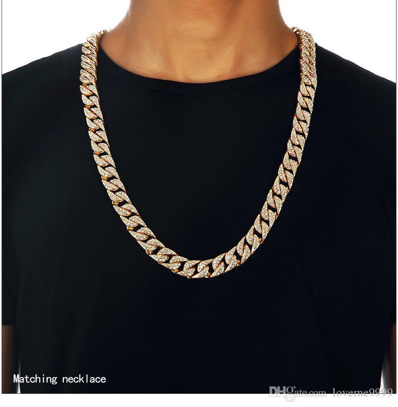 Hip hop Dos Homens de Alta qualidade 24 K Banhado A Ouro Bling Congelado CZ Cristal Cuba pulseira Miami Diamante Cadeia Cubana Pulseiras Colares de Jóias