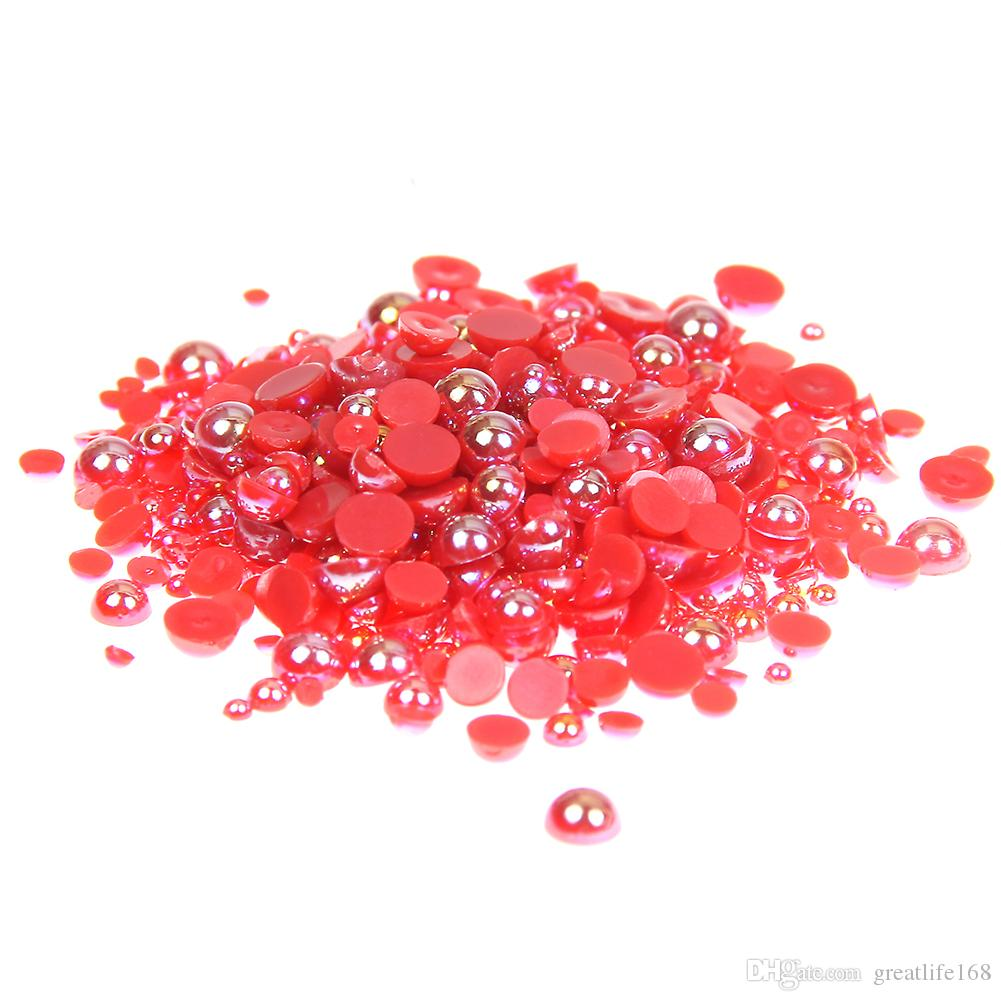 1.5-10mm Red AB Half Round Craft ABS Resin Pearls Flatback Glue On Beads Gems Appliques For Clothing Bags Shoes DIY Decorations