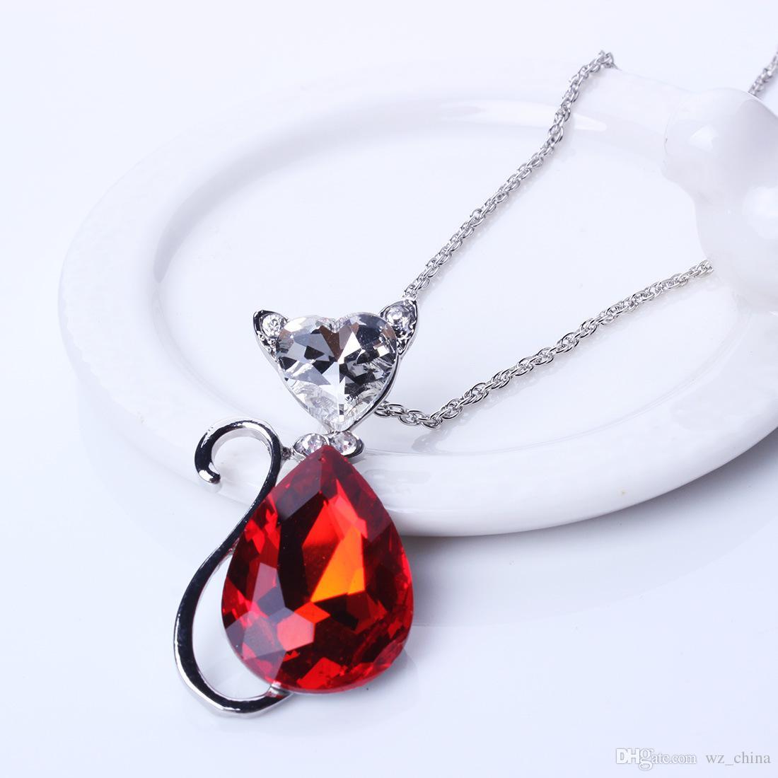 Mujeres Conjuntos de joyas de cristal de boda Rhinestone Gatos lindos Aretes / Collares pendientes Rojo Negro Azul Blanco Chapado en oro conjunto de joyas Nueva llegada