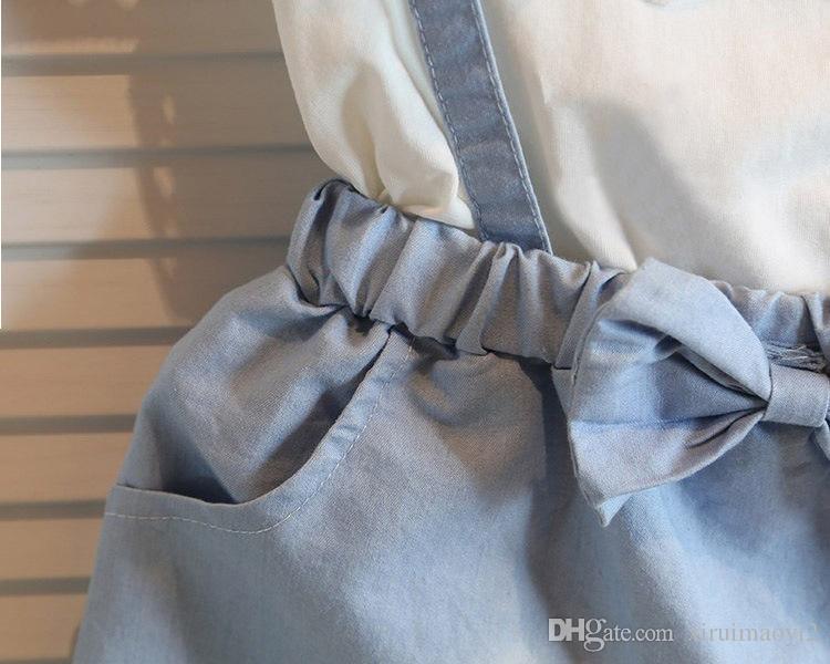 Kız Dantel ilmek parantez denims elbise takım elbise Yaz Şifon Dantel pamuk Kolsuz Tişört Kısa etek elbise suit bebek giysileri toptan