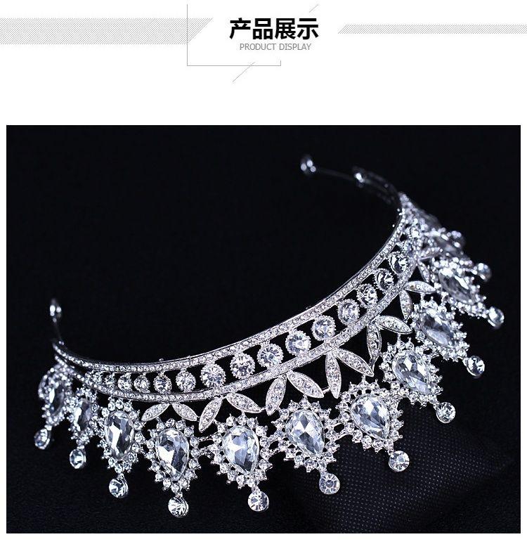 Cristalli d'argento di lusso Corone da sposa Perline Diademi da sposa Strass Accessori capelli Accessori capelli economici Corona da spettacolo