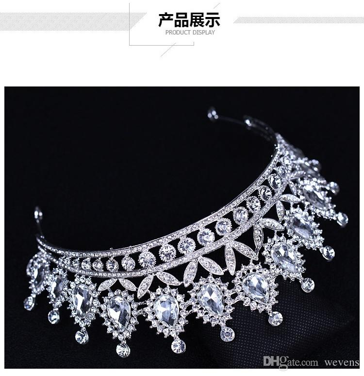 Luxo Cristais De Prata Coroas De Casamento Frisado Nupcial Tiaras Cabeça de Strass Peças Headband Barato Acessórios Para o Cabelo Pageant Coroa