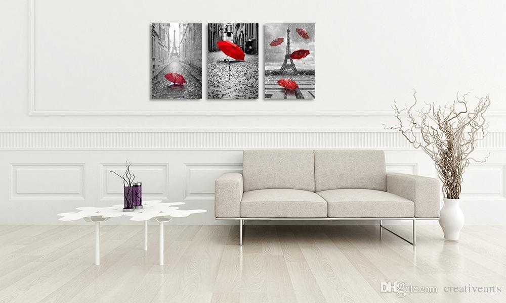 Zeitgenössische Wandkunst Leinwand Schwarz und Weiß Eiffelturm mit Roten Unbrella auf Paris Street Painting Romantisches Bild Ungerahmt 40cmx60cmx3