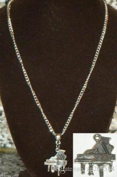 Vintage Silver Grand Piano Charms Choker Collar Necklaces&Pendants For Women Gift DIY Jewelry Fashion Accessories Souvenir Hot Sale NEW Q127