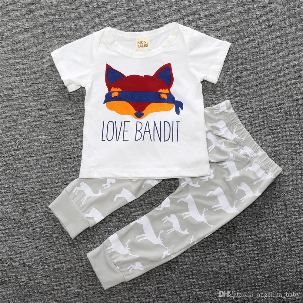 2016 Herbst Frühling 0-2years INS Baby kleidung Nette Fox T Shirts + Deer PrintingTrousers 2 stücke sets Fashion design Europäischen stil Hohe qualität