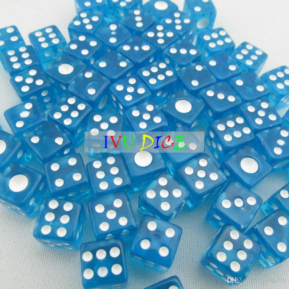 100 adet 8 MM ile 6side Zar Şeffaf MAVI BEYAZ noktası 1-6 otomatik mahjong oyunu KTV parti makinesi zar IVU