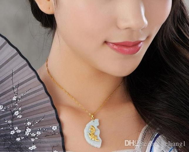 Lucky gold embutidos pingente de jade concêntrico longfeng amantes. Pingente de colar.