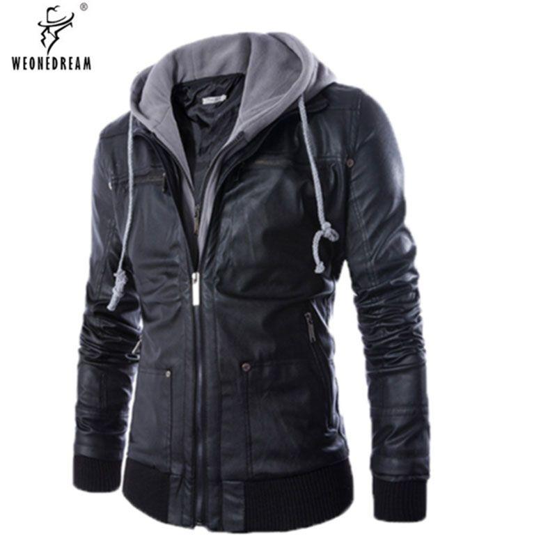 98db4cc62b602 Wholesale- WEONEDREAM Size M-3XL Hat Detachable Men Motorcycle Black PU  Faux Leather Coat Hooded Slim Fit Jackets Men s Jackets Coats Jacket  Modeling Coat ...