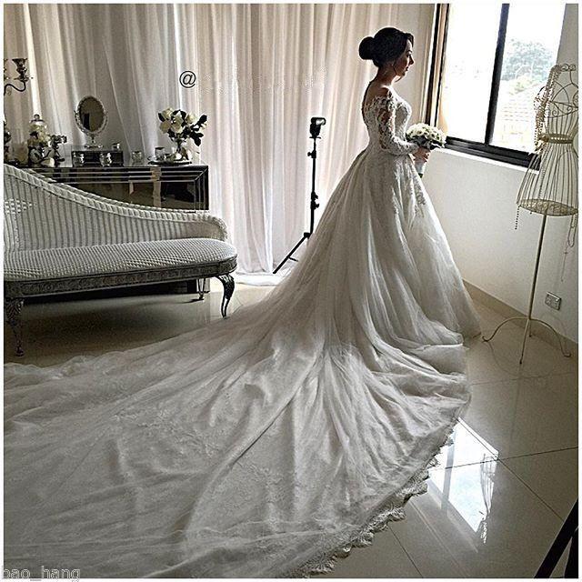 Старинные Кружевные Свадебные Платья A Line 2017 Sheer Jewel Neck Новые Длинные Рукава Аппликации Собор Поезд Свадебные Платья Vestidos de novia