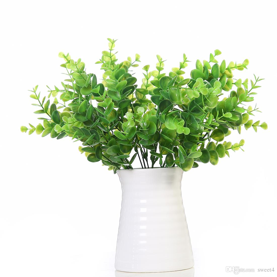 2018 artificial shrub with stems in green faux plastic eucalyptus
