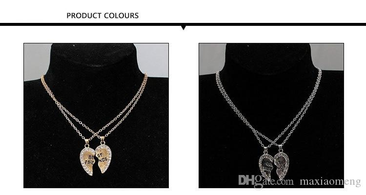 A pair Best friends Necklace Modern stylish Pendant Mosaic zircon Necklaces Electroplating gold and silver Non fading,45 cm