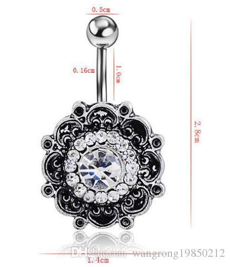 Bonne qualité New retro gem diamant diamant nombril cloche anneaux dorure le corps de bijoux piercing populaires trois couleurs