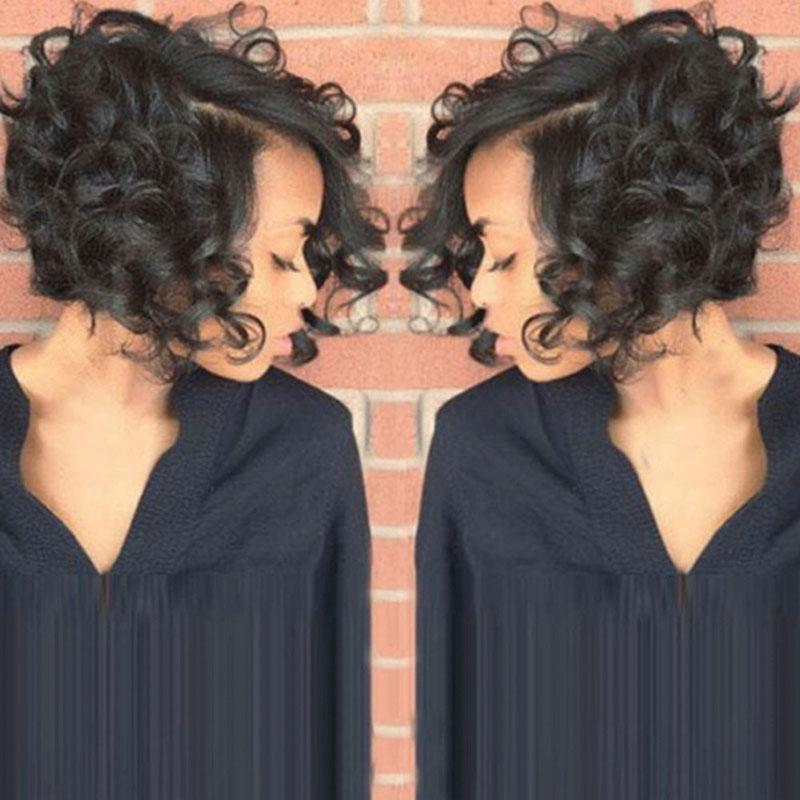 Cheap Short Curly Bob Full Lace Human Hair Wigs For Black Women Brazilian Virgin Hair Glueless Lace Front Wigs Natural Hairline