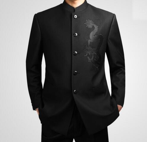 buy online 0c71f c5860 Vendita calda nero vestito tunica cinese uomo stand collare tradizionale  abiti apec leader costume maschio ricamo totem drago vestito