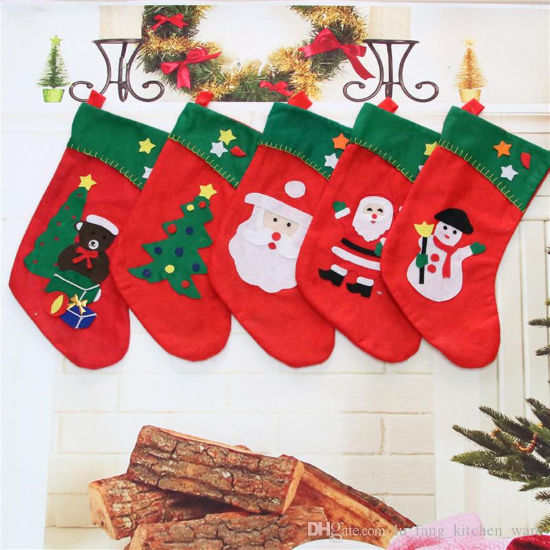 christmas decorations diy party christmas gift bag seam applique nonwovens christmas socks ornaments high quality party supplie wholesale luxury christmas - Luxury Christmas Decorations Wholesale