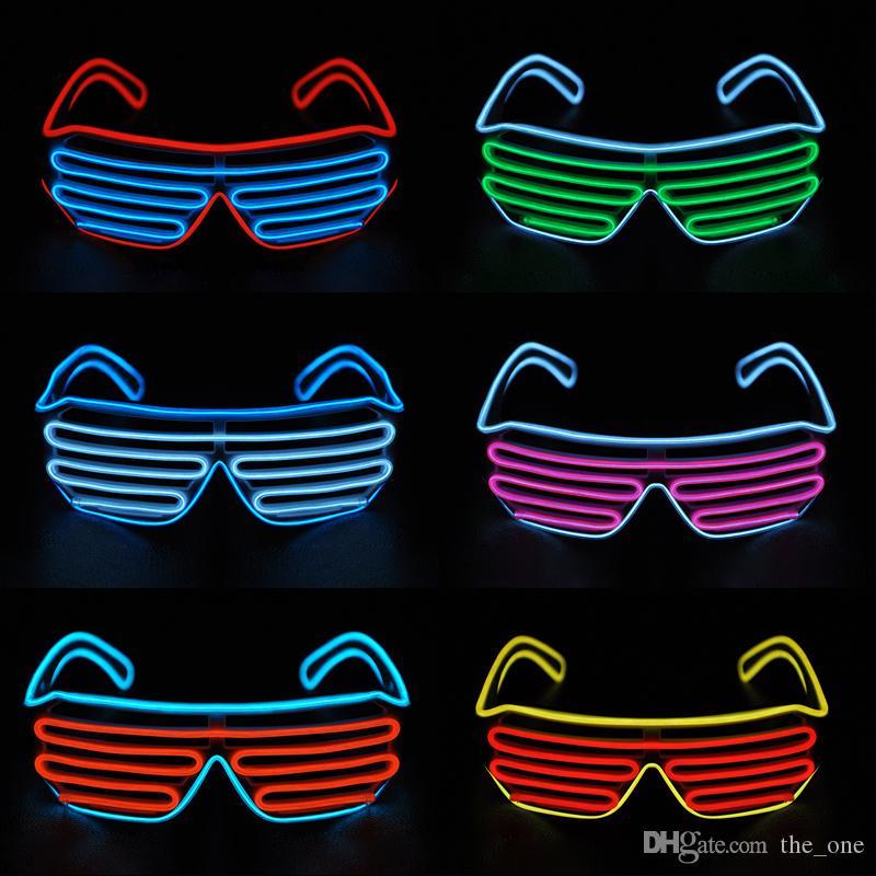 Nouveau LED EL Wire néon Lunettes de clignotant pour noël anniversaire Halloween parti de néon Costume décoration de fête fournitures lunettes à la mode
