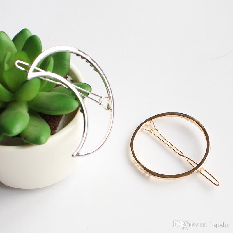 Vintage ouro / prata círculo líbio lua triângulo cabelo pino grampo meninas clipes de cabelo de metal acessórios de cabelo