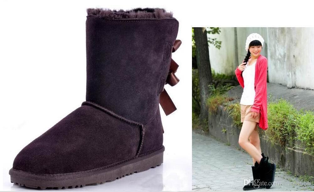 FREIES VERSCHIFFEN 2017 Fabrikverkauf NEW Australia klassische hohe Winterstiefel echtes Leder Bailey Bowknot Frauen Bailey Bogen Schnee Stiefel Schuhe Boot