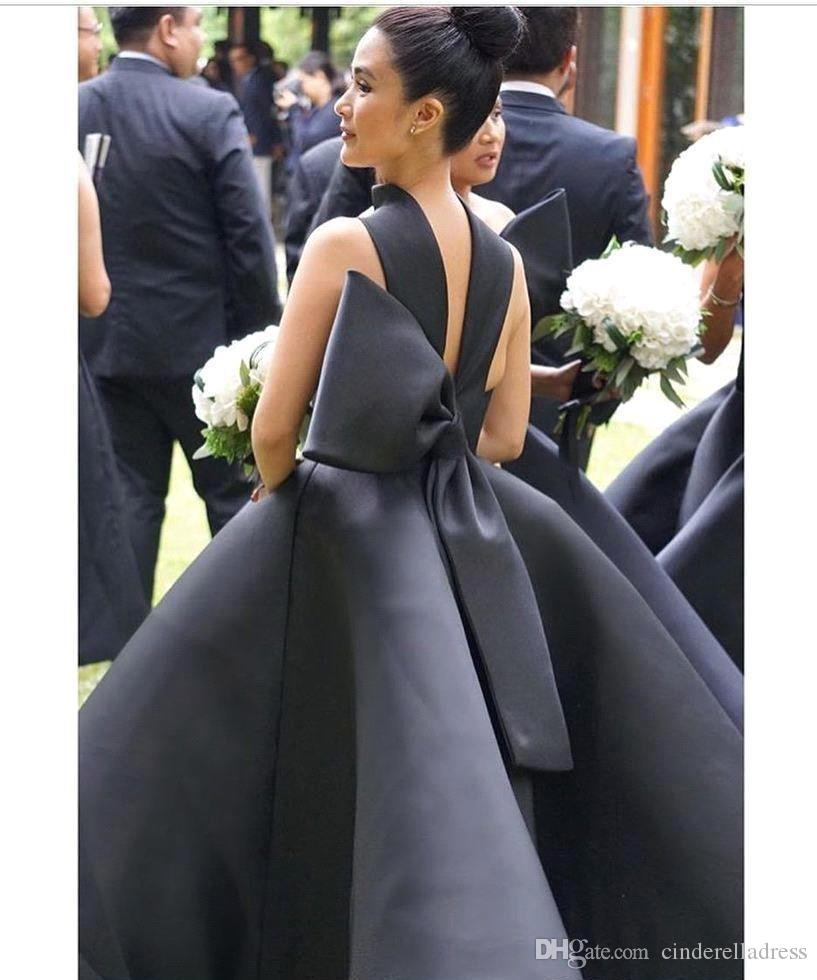 2018 Sexy Ball Gown Ruffles Prom Cocktail Dresses High Neck Sleeveless Big Bow Prom Evening Gowns Party Dress Ankle Length Bridesmaid