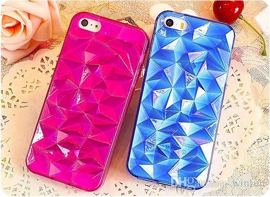 Elegant 3D Crystal Diamond Stone Pattern Transparent Tpu Rubber Case Clear Diamond Shape Tpu Case For iPhone 5 5s 5G