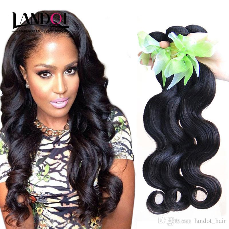 Peruvian Virgin Hair Body Wave 100% Human Hair Weave Wavy 3 Bundles Unprocessed Malaysian Indian Cambodian Brazilian Hair Weft Natural Black
