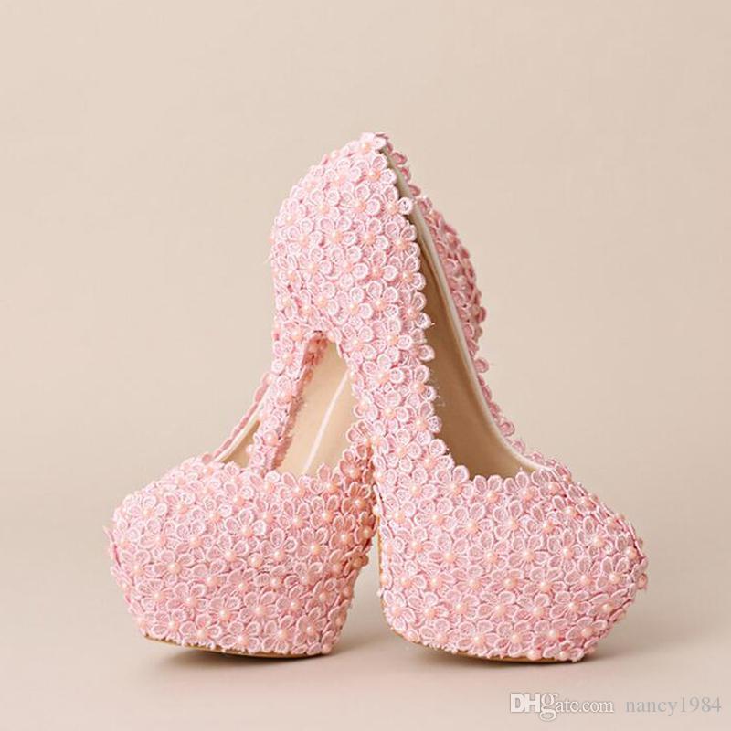 Nova Doce Rosa Flor Do Laço Sapatos de Casamento Handmade Festive Ultra High Heel Sapatos De Noiva Mulheres Moda Bombas Formal Vestido Sapatos