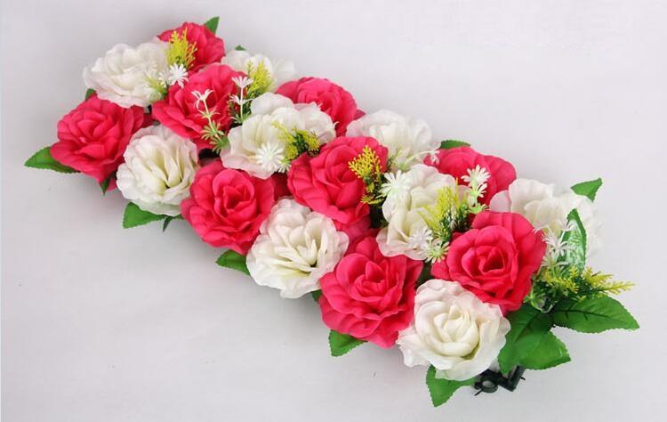 18 heads White&Hot Pink Artificial Silk Rose Flower Arch Frame In a row Decorative Wedding Road Led Flower Wedding Props