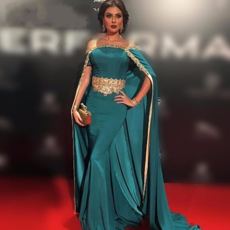 Hunter Mermaid formale Abend-Kleider mit Wraps Gold-wulstige Mid East Sexy Schulterfrei Vestidos de Festa Libanon Berühmtheit Abschlussball-Kleider 2016