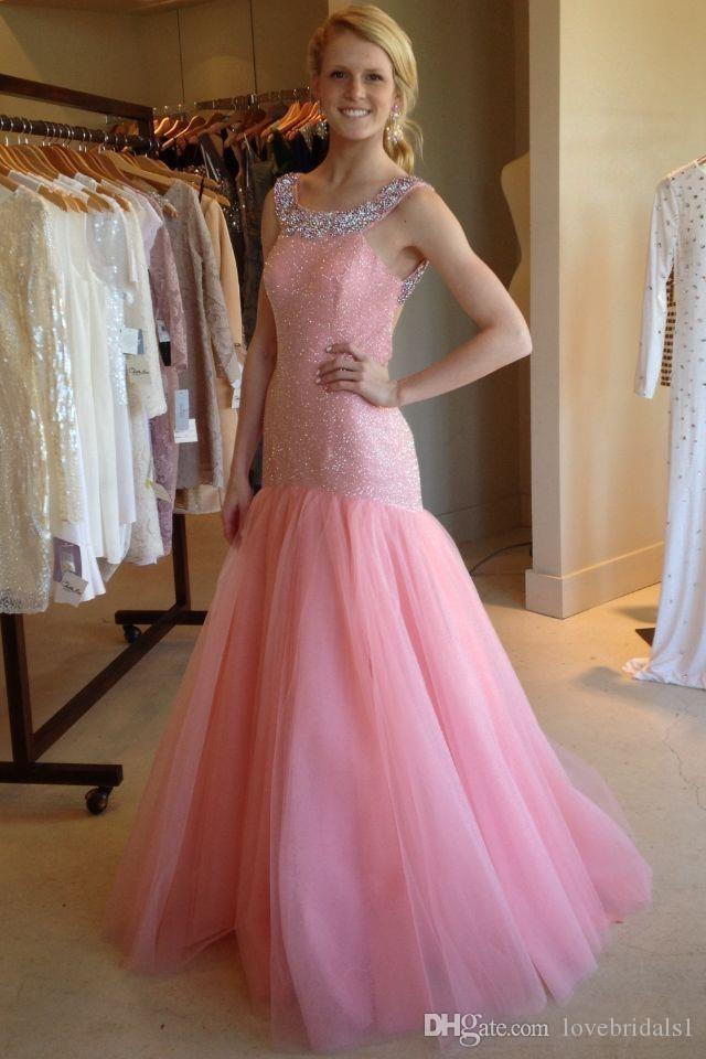 sparkling mermaid prom dress sequin beads scoop tulle sexy backless cocktail homecoming dress cheap wedding guest dress