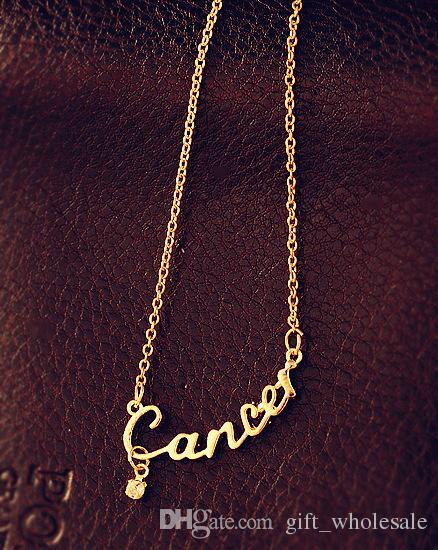 On Sale Fashion Jewelry 12 Zodiac Signs Letter Pendants Necklace Korean Women Ladies Chokers Sweater Chain Mix Wholesale