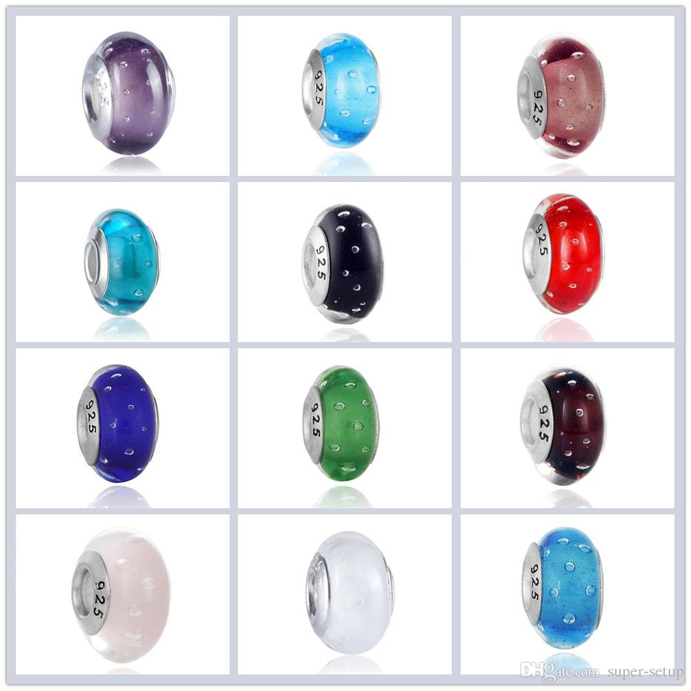 Boutique Silver plated 925 boldface stamped Murano Glass Beads Jewelry DIY accessories Charms big hole Bead Fits EUR Bracelets A-018